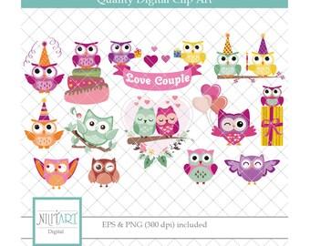 Love clip art, owel clipart, valentine's vector graphics, love clipart, digital images -  CL 128