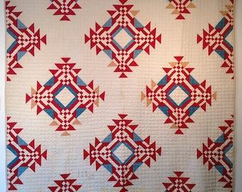 SALE 25% off! Dazzling, unique nine-patch variation vintage quilt