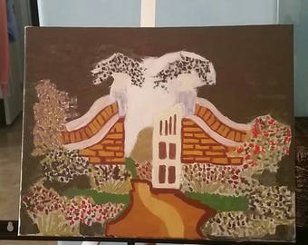 Garden Gate Acrylic Painting on Canvas