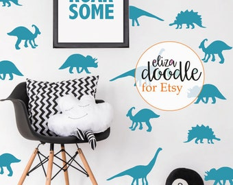 Dinosaur wall stickers / decals for boys / dinosaur nursery decor / children's dino wall art / Blue Grey Black Vinyl Sticker /fake wallpaper