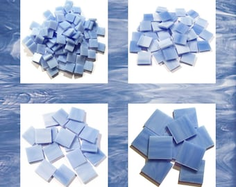 Sky Blue Squares Stained Glass Mosaic Tiles Opal Hand Cut Spectrum
