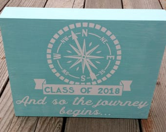 Graduation gift / compass / Class of 2018 / and so the journey begins / Graduation party decoration