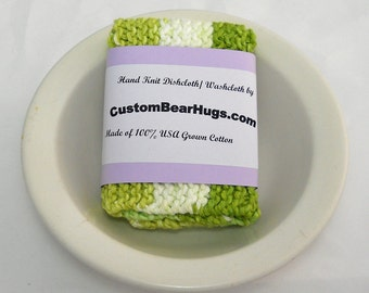 Large Hand Knit Washcloth/ Dishcloth in Lime Green and White Stripes, 100% Cotton, Make Your Own Custom Set, Housewarming Gift, Baby Gift