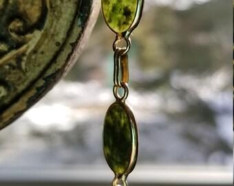 14K Gold Jade Link Bracelet, Jade Bracelet, Jade, 14k Jade Bracelet, Jade Cabochon bracelet, jade cabochons, 14K gold, green jade bracelet