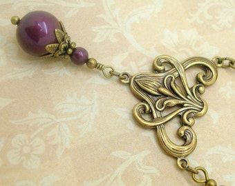 Art Nouveau Style Necklace with Blackberry Purple Swarovski Pearls
