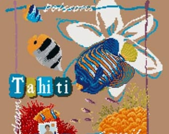 Tahiti – counted cross stitch chart, tropical fish. French Chart, design wording in French, key in English or French. Clown Fish, Poissons.