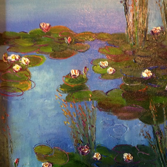 Wall Art Canvas, Blue Water Lilies, Monet's Lily Pond, Oil Painting, Landscape, Monet's Garden