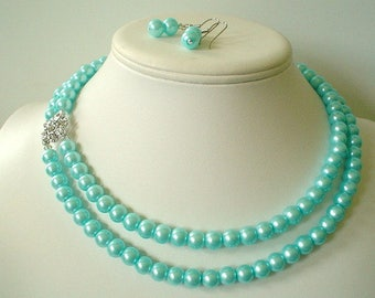 Two Strand Aqua Blue Pearl with Square Rhinestone Pendant Beaded Necklace and Earring Set    Great Brides or Bridesmaid Gifts