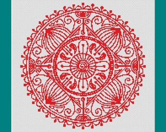 Red Mandala One Color Counted Cross Stitch Pattern (10.64 x 10.71 in or 27.03 x 27.21 cm) download printable PDF Chart (4030)