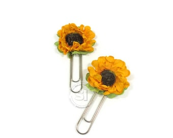 Set of 4 sun flower paper clips-Yellow Paper Flower Planner Clips, Book Markers  - Set of 4 pcs