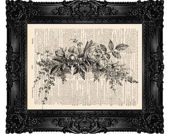Beautiful Flower Garland, Dictionary Art Print Vintage Upcycled Antique Book Page no. 263