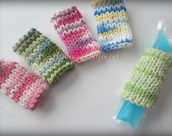Knitted freeze pop holders, freezy cozies, freeze pop wraps, ice pop buddy