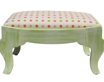 Vintage Distressed Footstool - Nursery Stool - Pink Polka Dot Fabric - Antique - Baby Furniture - Little Girl Decor - Lime Green