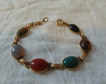 vintage gold filled scarab bracelet egyptian colorful semi precious stones