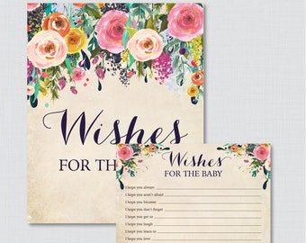 Floral Wishes for Baby Baby Shower Activity - Printable Well Wishes for Baby Cards and Sign - Instant Download- Shabby Chic Baby 0025-A