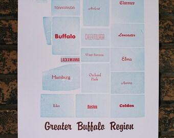 Greater Buffalo Region Letterpress Print