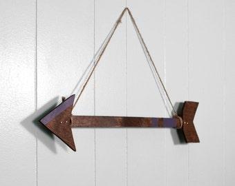 Wall Arrow, Arrow, Arrow Decor, Espresso and Eggplant, Boho Home, Bohemian, Arrow Art, 21 Inch