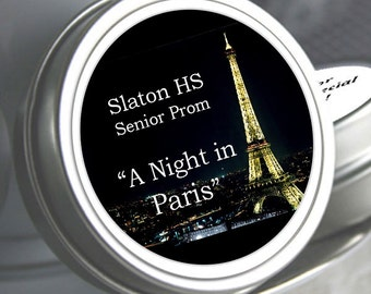 "12 Personalized Paris Mint Tin Prom Favor - Select the quantity you need below in the ""Pricing & Quantity"" option tab"