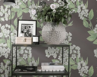 Temporary Wallpaper, Vinyl Wallpaper, White Cherry Tree Self-Adhesive Wall Decal, 012