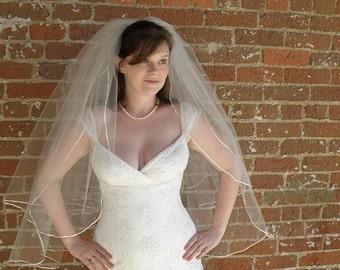 Wedding veil - fingertip length with blusher - bridal veil