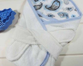 Hooded Dog Bath Towel  in Paisley Blue