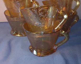 Floragold Carnival Glass Cups (set of 6)