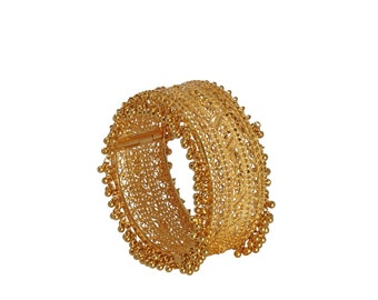 22kt gold ornate filligree bangle bracelet with dangling gold beads on both sides