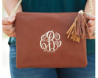 Camel Monogrammed Kendall Purse