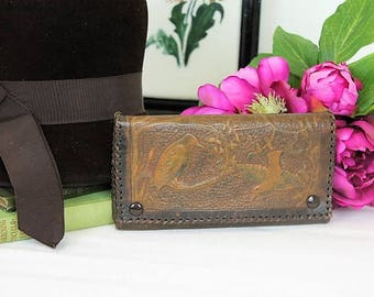 1910's Leather Clutch Bag/Tool Work Evening Purse/Flapper Wrist Purse/1920's Handbag (Ref1915X)