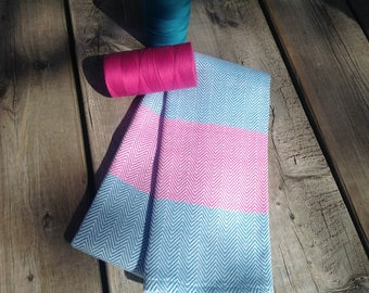 Linen dish turquoise and fuchsia chevron pattern completely handwoven as used on the loom to woven.100/100coton