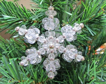 Snowflake Christmas Ornament - Silver and Clear
