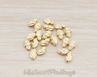 BDS910-MG // Matte Gold Plated Tiny Leaf Metal Bead, 4 Pc