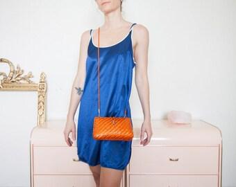 Orange Woven Lacquered Crossbody Bag