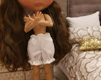 Doll Victorian Bloomers for Neo Blythe Dolls in White with Ruffle