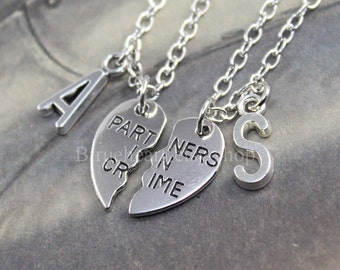 Silver PARTNERS IN CRIME necklace friendship necklace set best friends broken heart set sisters gift jwelry initial necklace