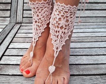 Barefoot sandals crochet, beach sandals, foot jewelry.