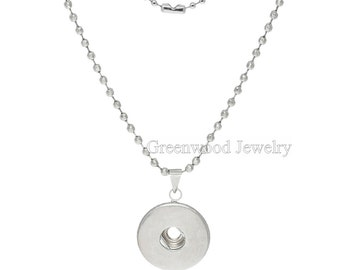 25in. Silver Ball Chain Necklace  - For Interchangeable Jewelry - Snap - Button Jewelry