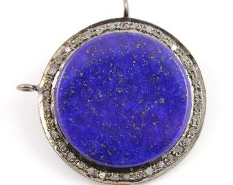 Pave Diamond Pendant, Pave Lapis Circle Pendant, Diamond Triangle Lapis, Pave Gemstone Lapis, Pave Connector, Oxidized Silver. (DCH/OT/127)