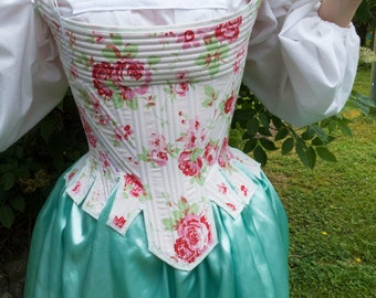 Rococo Handmade 18th Century Pink Floral Corset Stays Made of Cotton and Reed Boning