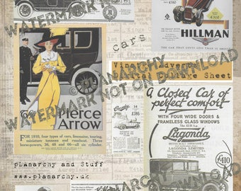 Digital Collage Sheet - Vintage Adverts (Cars)