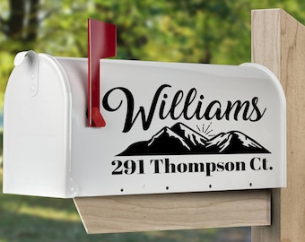 Custom mailbox decal with mountain design.  Personalized mailbox sticker, set of 2 or 1.  Mailbox address decal.  Mailbox lettering decal.