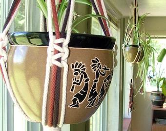 "Large Outdoor Planter - Macrame Cotton Rope Planter - Half Knot Squared Hanging Planter - Macramé and Bead Plant Pot Hanger 36"""