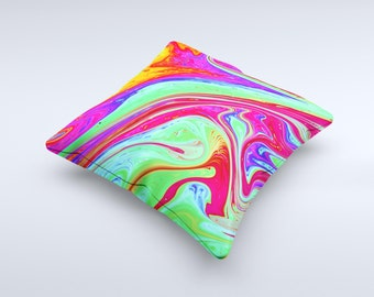 The Neon Color Fusion V12 ink-Fuzed Decorative Throw Pillow