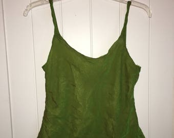 Silk Dual-Toned Layered Green Tank Top