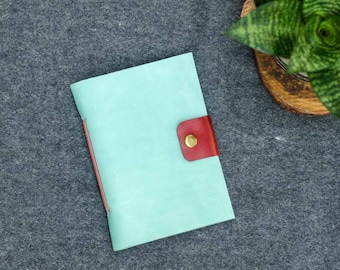 Mint & Red Leather Pocket Journal