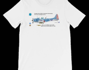 WWII MOH pilot William Hall's SBD-3 Douglas Dauntless air plane T-shirt