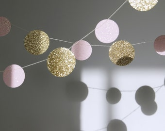 Glitter Paper Garland, Gold and Pink, Bridal Shower, Baby Shower, Party Decorations, Birthday Decor