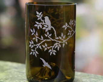 Birds and Birdcages in Tree drinking glass upcycled from wine bottle