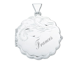Sterling Silver Engraved 2 Photo Round Scalloped Locket-Personalised Name & Message