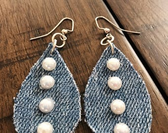 Recycle Denim Raindrop Earrings